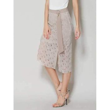 Asymmetrical Lace Skirt with Long Tail - Apricot Xl