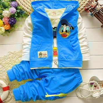 Donald Duck Children's suit  Vest Jacket T Shirt Pants 3pcs casual Cute cartoon pattern baby boy girl clothing Kids sports suit