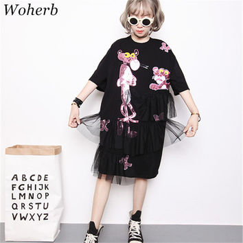 2017 New Fashion Short Sleeve T-shirts Female Cartoon Animal Sequined Print tshirt O-neck Patchwork Lace Women Tops Plus Size