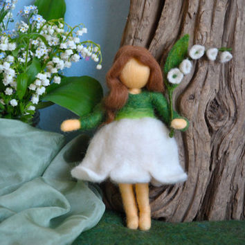 Waldorf inspired needle felted doll: Lilly of the valley flower  fairy (Fée des Muguets)