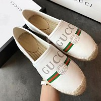 GUCCI Trending Women Stylish Letter Print Comfortable Leather Flat Shoes White I-TFDXY-XNEDX