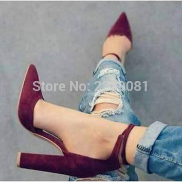 Ankle Wrap Suede Pointed Toe Pumps