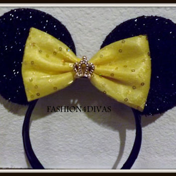 Minnie Mouse Ears Headband Black Sparkle Gold Sequin Bow with Gold Crown Mickey Mouse Ears, Disneyland, Holiday Mouse Ears FAST SHIPPING