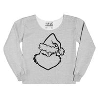Grinch Face Outline-Female Heather Grey T-Shirt