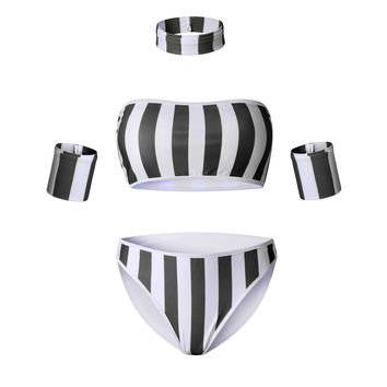 Black Striped Bikini Suit