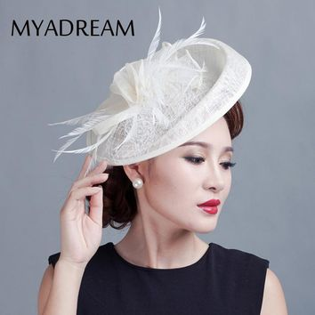 MYADREAM Ladies Sinamay Wedding Fascinator Solid Linen Feather Fedora Elegant Hats for Women Wedding Banquet Chapeau Femme Hat
