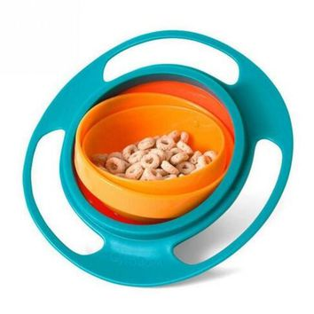 Hot Universal Infant Creative Fantastic Toy Practical Baby Kids Plastic Gyro 360 Rotate Spill-Proof Bowl Dishes UFO Gyroscope