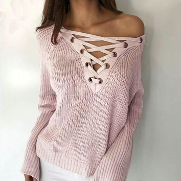 Women Sweater Lace up V Neck Pullover Jumpers Casual Loose knitwear