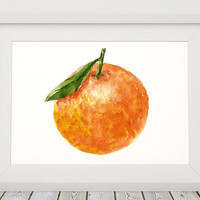 Clementine art Food print Kitchen print Fruit poster ACW418