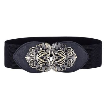 Metal Buckle Elastic Stretch Wide Waist Belt