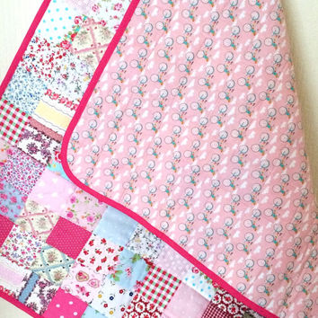 Baby Quilt Handmade, Cottage Chic Quilt, Shabby Chic Baby Blanket, Quilt For Baby, Floral Baby Quilt, Baby Girl Blanket, Quilts For Girls