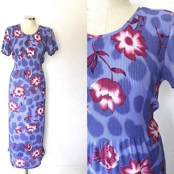 Purple rose print dress / pink / chiffon / vintage / pleated / elasticated / stretchy / tea dress /  short sleeve / tie waist / summer dress