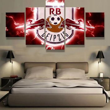5 Pieces Red Bull New York Sports Team Fans Oil Painting On Canvas Modern Home Pictures Prints Liveing Room Deco Fans Posters
