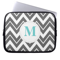 Personalized Laptop Sleeves,Gray Chevron Custom Monogram Computer Sleeve,Initial Macbook Air 13,Macbook Pro 15 Case,valentines day gift