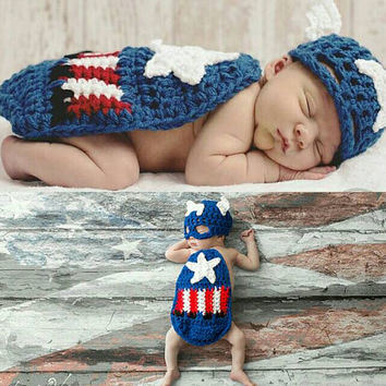 Captain America crocket baby photoshoot prop