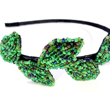 Green Leaf Vine Metal Beaded Headband