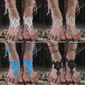 Barefoot Sandals Crochet Foot Ankle Sexy Women Anklet Jewelry Cotton Chain L19