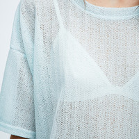 Sparkle & Fade Textured Knit Tee in Mint - Urban Outfitters