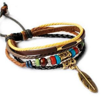 Fashion Adjustable  bracelets Cuff made of Leather Ropes and Feather pendant  unisex bracelet cuff bracelet Jewelry Bangle bracelet  709S
