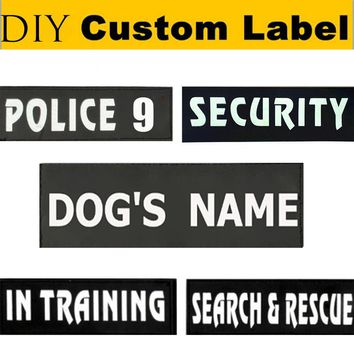 2Pcs Custom Pet Name Dog Harness Collar Leash Label Personalize Service Security Dog DIY Name Tag Cat Harness Vest Label Sticker