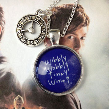 Doctor Who Tardis Wibbly Wobbly Timey Wimey Necklace Pendant