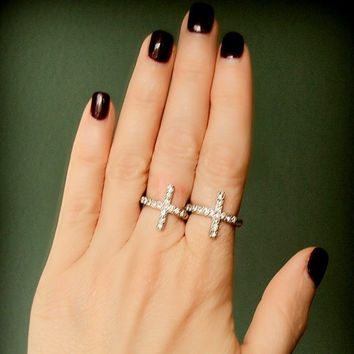 Sideways Cross Ring, Silver Cross Ring, Bling, Curved, Stretch, Adjustable, Beaded, Pave, Knuckle Ring, Rhinestone, Crystal