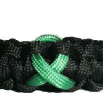 Liver Cancer Jade Green Awareness Ribbon Paracord Bracelet