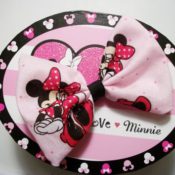 Pink Minnie Mouse Print Hair Bow by RosetteBelles on Etsy