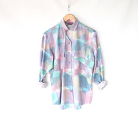Vintage 80s Pastel Cut Out Collar Shirt // Western Watercolor Print Spring Blouse