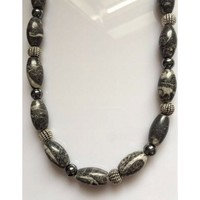 Mens Gray and Silver Fossil Beaded Necklace