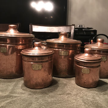 Solid Copper Graduated Turkish Canisters