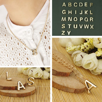 1 PCS Hot Stylist DIY Women Men Lovers Gift Gold Plate Alphabet Letter Name Initial Chain Pendant Necklace Fashion Jewelry