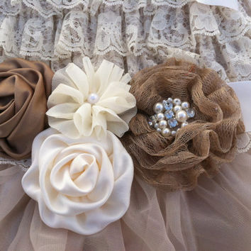 Rustic Flower Girl Sash/Belt/Rustic Flower Girl Outfit/Country Wedding- Shabby Chic Wedding Belt-Shabby Chic Wedding Sash