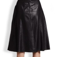 enabled: truelabel: Tibi-Leather A-Line Midi Skirt
