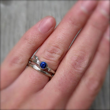 Sapphire Twig Engagement and Wedding Ring Set, Recycled Gold, .30ct Ceylon Sapphire