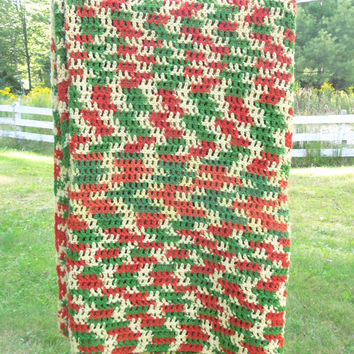 """Vintage multicolored crochet blanket afghan throw in tomato-red pale-yellow green - Fall autumn home decor 70"""" x 53"""""""