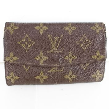Auth LOUIS VUITTON Vintage Bifold Clutch Wallet Monogram Brown