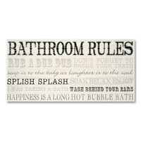 New View ''Bathroom Rules'' Wall Plaque (Cream)