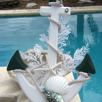 Christmas Anchor with Seashells Home Decor by seashellgalleria