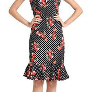 BITENCON 1950s Pinup Vintage Rockabilly Polka Dot Mermaid Wiggle Fitted Party Dress