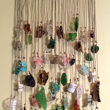 Sea Glass Suncatcher Driftwood Mobile Ecofriendly Upcycled Recycled Seafoam Beachglass Beach Decor Tumbled Beach Glass Lake Erie