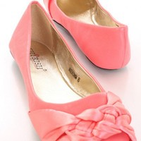 Coral Faux Leather Satin Knotted Front Closed Toe Flats @ Amiclubwear Flats Shoes online store:Women's Casual Flats,Sexy Flats,Black Flats,White Flats,Women's Casual Shoes,Summer Shoes,Discount Flats,Cheap Flats,Spring Shoes,Cute Flats Shoes,Women's Flats