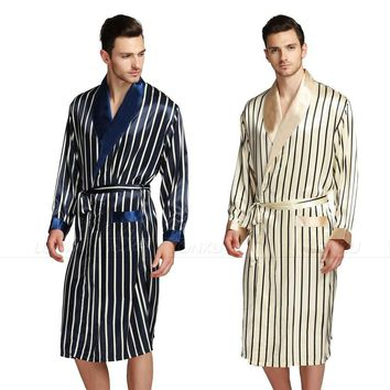 Mens Silk Satin Pajamas Pajama Pyjamas PJS Sleepwear Robe Robes Nightgown  Robes   S M  L XL 2XL 3XL Plus Beige Blue Striped