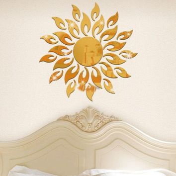 Acrylic 3D Sunflower Fire Mirror Effect Wall Sticker Decal Room Modern Decor Hot