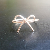Handmade Bow Knot Ring / Bridesmaid Gift Rose Gold Silver / Buy 3 get 1 FREE