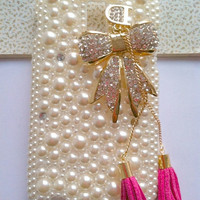 Handmade Phone case cover for T-mobile Samsung Galaxy S 2 II S2 T989 Charms Blingbling Pearl Rhinestone Lovely Gilding Bowknot Tessal