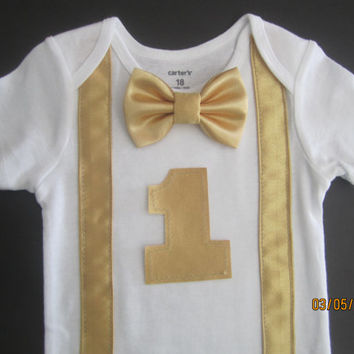 Baby gold suspender birthday outfit, Boy  first birthday outfit, boy gold birthday shirt, boy gold bow tie outfit, gold suspender shirt