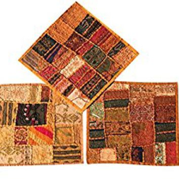 "Designer Throw Pillow Sham Vintage Patchwork Brown Cushion Covers Set Of 3 16""x 16"""