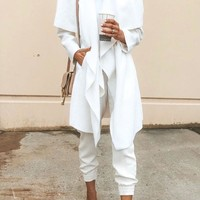 New White Pockets Long Sleeve Casual Sweet Going out Coat