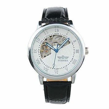ON SALE - Sophisticated In White Mechanical Skeleton Automatic Watch For Men